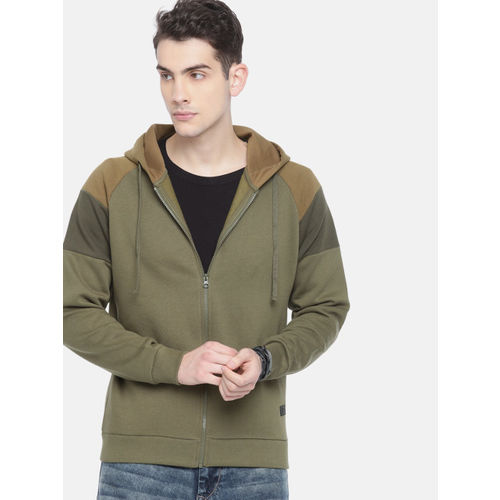 Roadster Men Olive Green Solid Hooded Sweatshirt