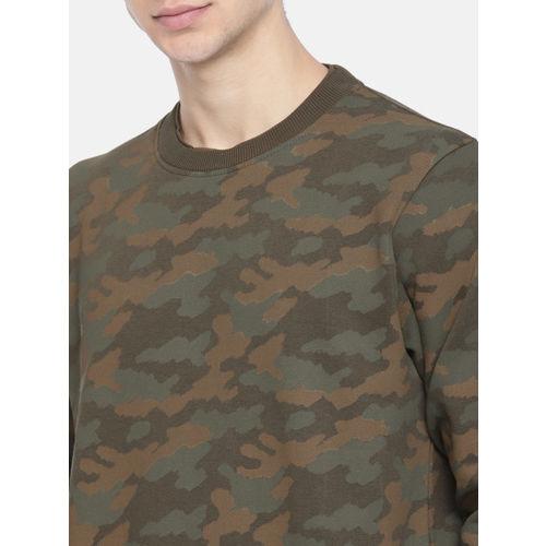 Roadster Men Olive Green & Brown Camouflage Print Sweatshirt
