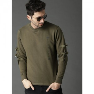 Roadster Men Olive Green Solid Sweatshirt