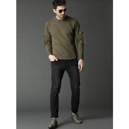 Roadster Men Olive Green Solid Sweatshirt