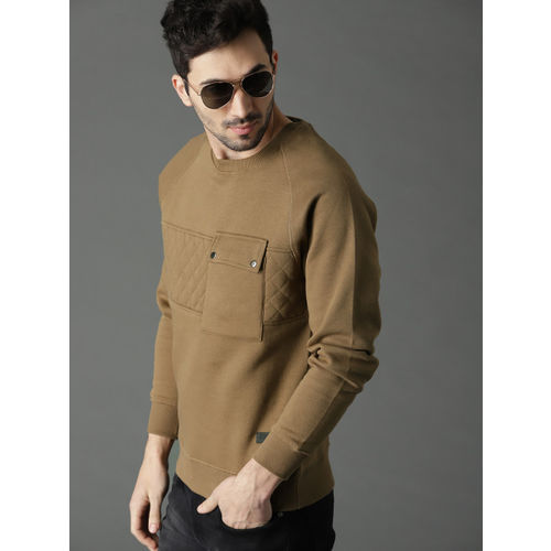 Roadster Men Olive Brown Solid Sweatshirt
