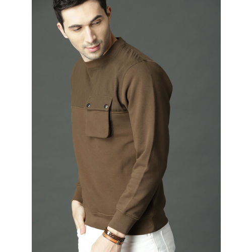 Roadster Men Olive Brown Solid Sweatshirt