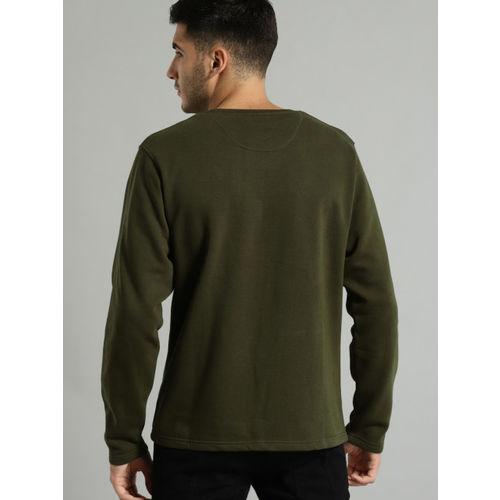 Roadster Men Olive Green Colourblocked Sweatshirt