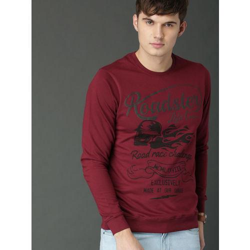 Roadster Maroon Printed Sweatshirt