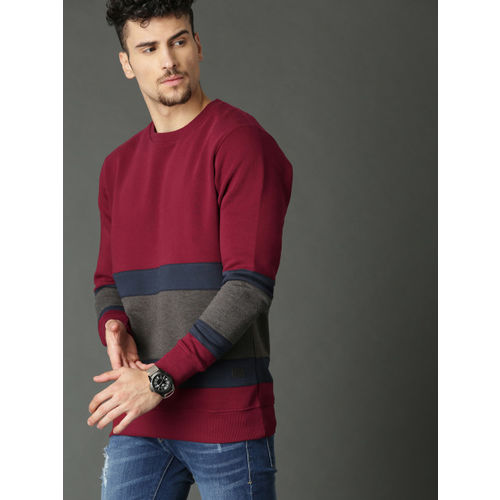 Roadster Maroon & Charcoal Grey Colourblocked Sweatshirt