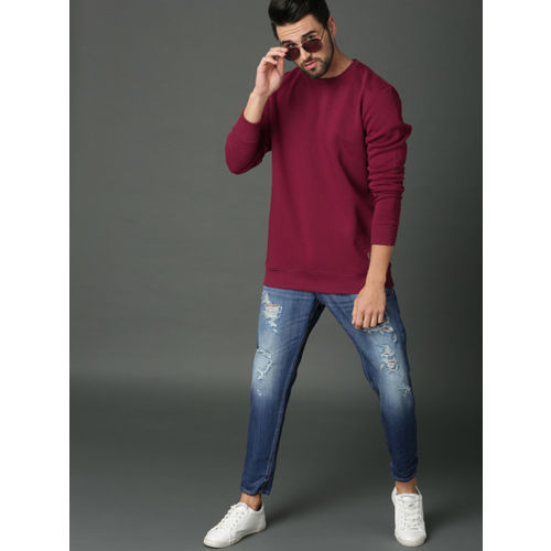 Roadster Men Maroon Solid Sweatshirt
