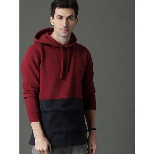 Roadster Men Maroon & Navy Blue Colourblocked Hooded Sweatshirt