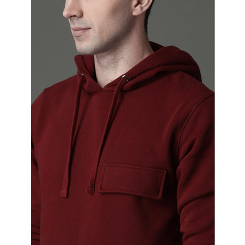 Roadster Men Maroon Solid Hooded Sweatshirt