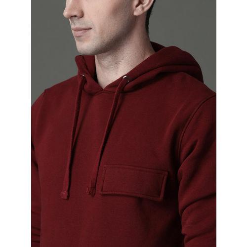 Roadster Men Maroon Solid Hooded Sweatshirt