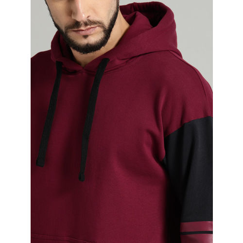 Roadster Men Maroon & Navy Blue Solid Hooded Sweatshirt
