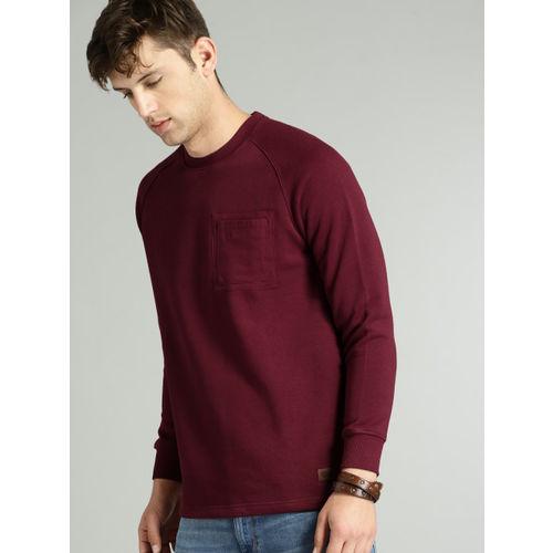 Roadster Men Maroon Solid Sweatshirt