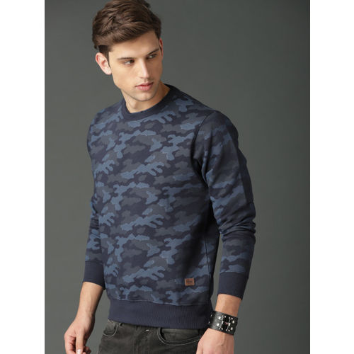 Roadster Men Blue Printed Sweatshirt