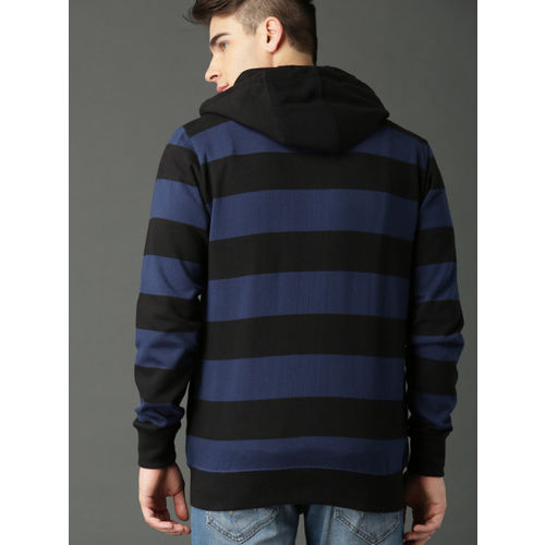 Roadster Men Navy Blue & Black Striped Hooded Sweatshirt