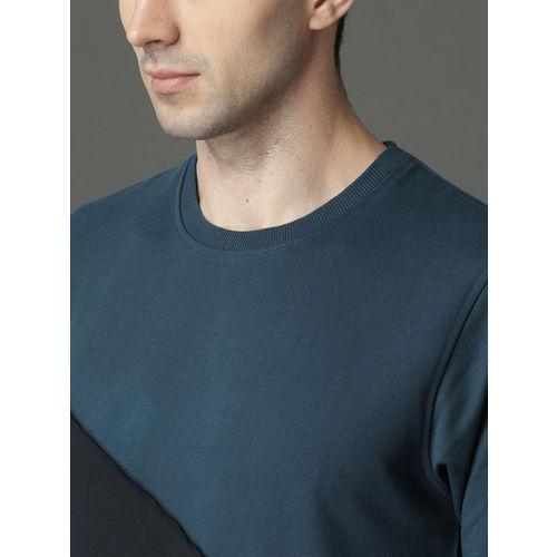 Roadster Men Blue Colourblocked Sweatshirt
