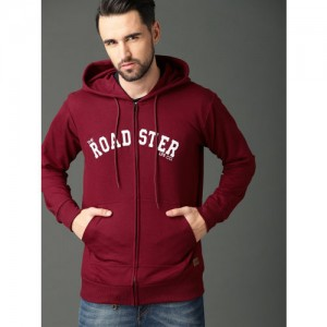 Roadster Men Red Appliqued Hooded Sweatshirt