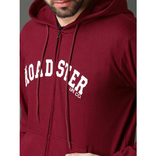 Roadster Men Red Appliqued Hooded Sweatshirt