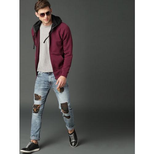 Roadster Men Burgundy Solid Hooded Sweatshirt