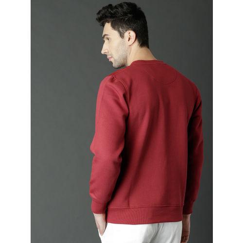 Roadster Men Red Solid Sweatshirt