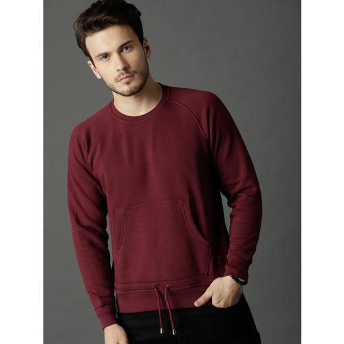 Roadster Men Burgundy Solid Sweatshirt