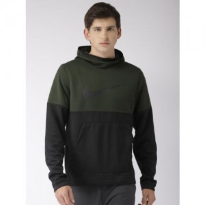 42bdc20be7cacf Nike Men Olive Green   Black Colourblocked Standard Fit SPOTLIGHT HOODIE  Sweatshirt