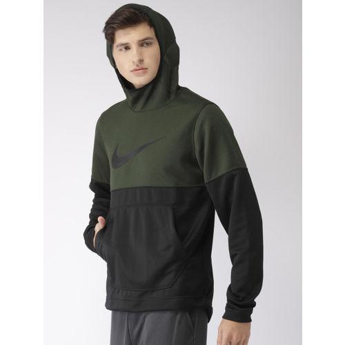 Nike Men Olive Green & Black Colourblocked Standard Fit SPOTLIGHT HOODIE Sweatshirt