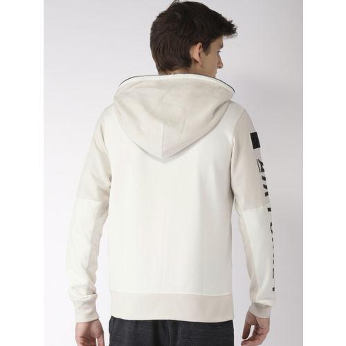 Nike Men Cream-Coloured AS NSW AF1 HOODIE FZ FT Solid Sweatshirt