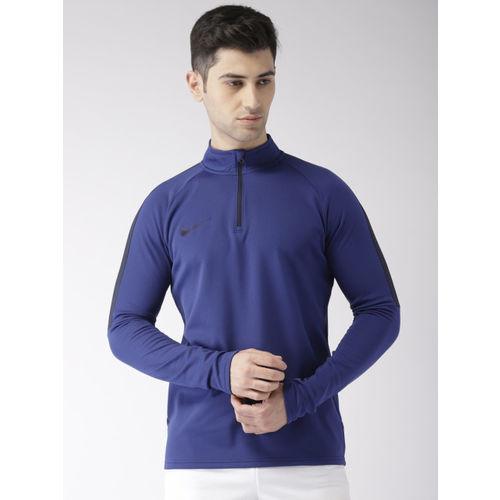 Nike Men Blue Solid ACDMY DRIL Standard Fit High Neck Dri-FIT Football Sweatshirt