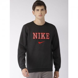 Nike Men Black Embroidered AS NSW FLC REISSUE Sweatshirt