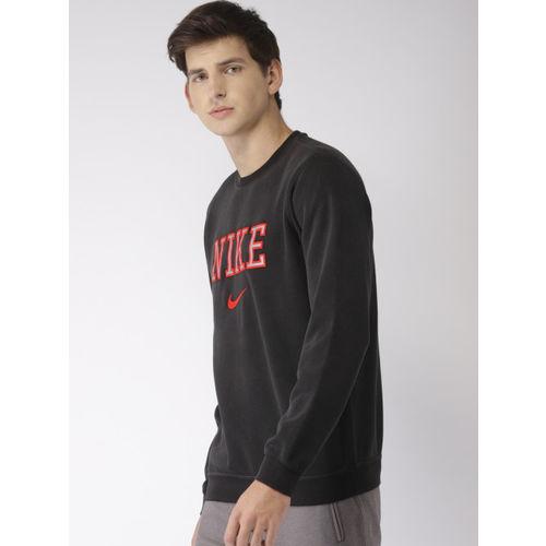 Nike Men Black Embroidered AS NSW FLC REISSUE Sweatshirt
