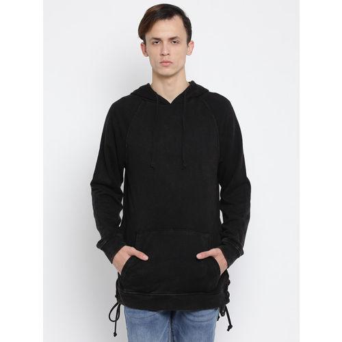 FOREVER 21 Men Black Solid Hooded Longline Sweatshirt