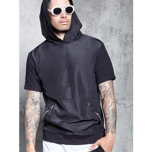 FOREVER 21 Men Black Solid Hooded Sweatshirt
