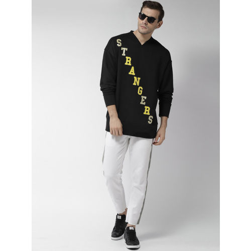 FOREVER 21 Men Black Printed Sweatshirt