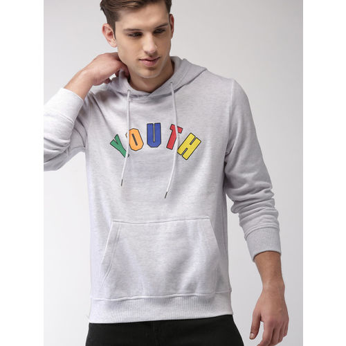 FOREVER 21 Men Grey Printed Hooded Sweatshirt