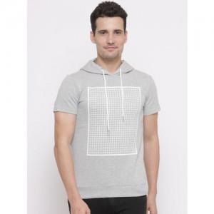 FOREVER 21 Men Grey Melange Printed Hooded Sweatshirt