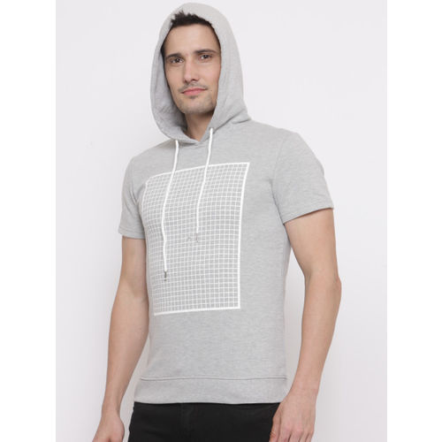 FOREVER 21 Men Grey Melange Printed Hooded Sweatshirt