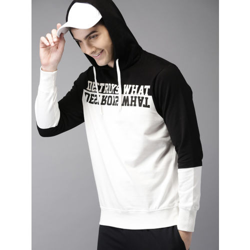 HERE&NOW Men Black & White Colourblocked Hooded Sweatshirt