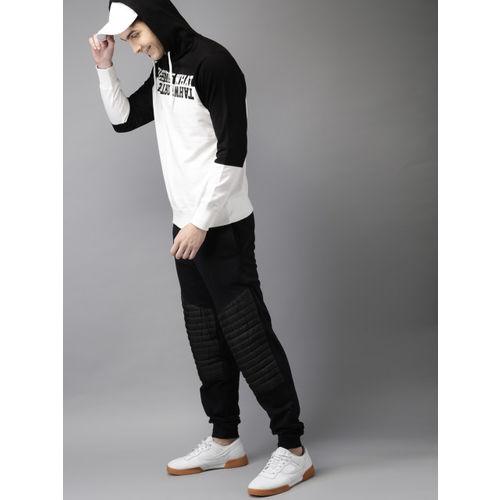 HERE&NOW Men Black & White Colourblocked Hooded Sweatshirt