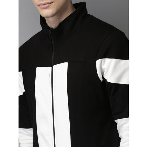 HERE&NOW Men Black & White Colourblocked Sweatshirt