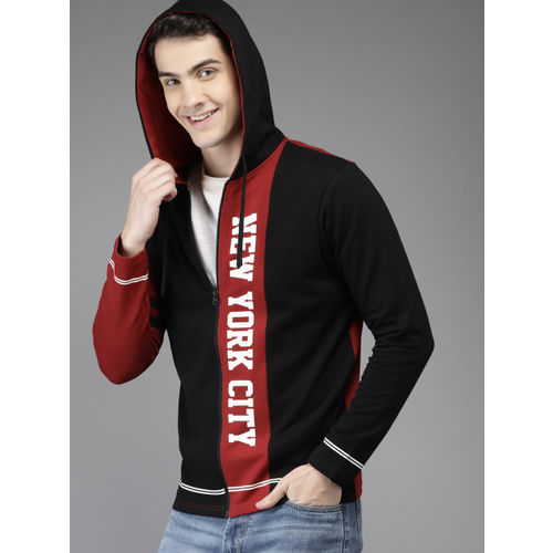 HERE&NOW Men Black Colourblocked Hooded Sweatshirt