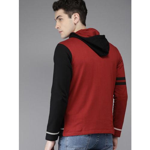 HERE&NOW Men Black Colourblocked Hooded Sweatshirt
