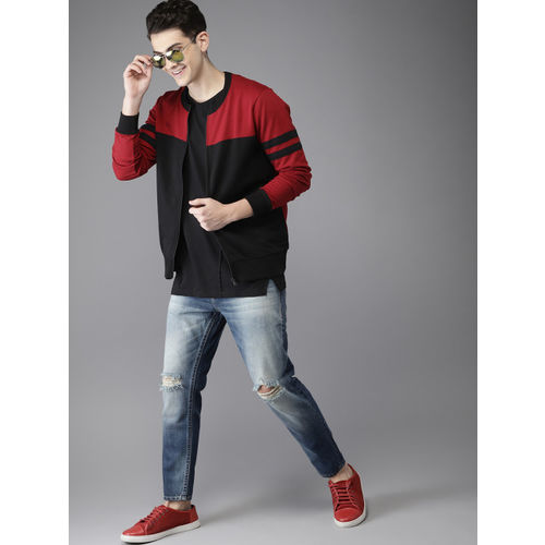 HERE&NOW Men Black & Red Colourblocked Sweatshirt