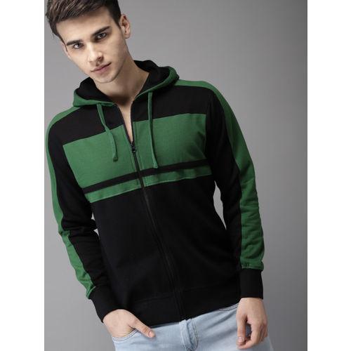 HERE&NOW Black Colourblocked Hooded Sweatshirt