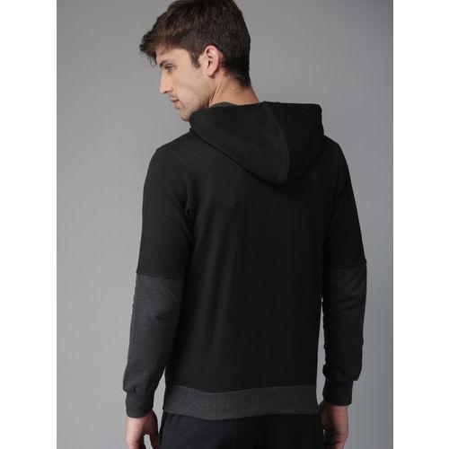 HERE&NOW Men Black & Charcoal Colourblocked Hooded Sweatshirt