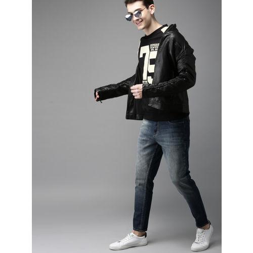 HERE&NOW Men Black & Off-White Colourblocked Sweatshirt