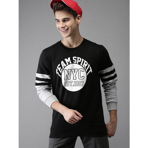 HERE&NOW Men Black Printed Sweatshirt