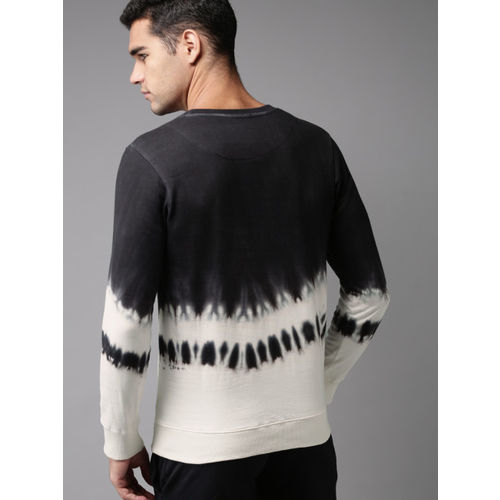 HERE&NOW Men Black & White Colourblocked Sweatshirt