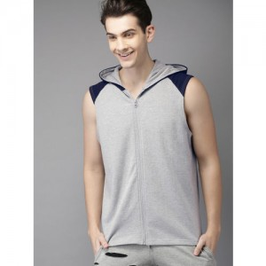 HERE&NOW Men Grey Melange Solid Hooded Sweatshirt