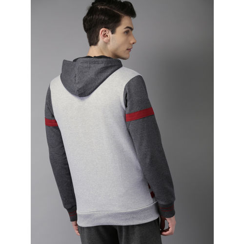HERE&NOW Men Grey Printed Hooded Sweatshirt