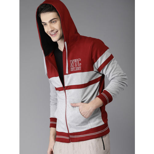 HERE&NOW Men Grey Melange & Maroon Colourblocked Hooded Sweatshirt