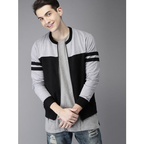 HERE&NOW Men Grey & Black Colourblocked Sweatshirt